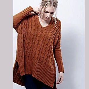 Free People Easy V Cable Knit Sweater Rust S